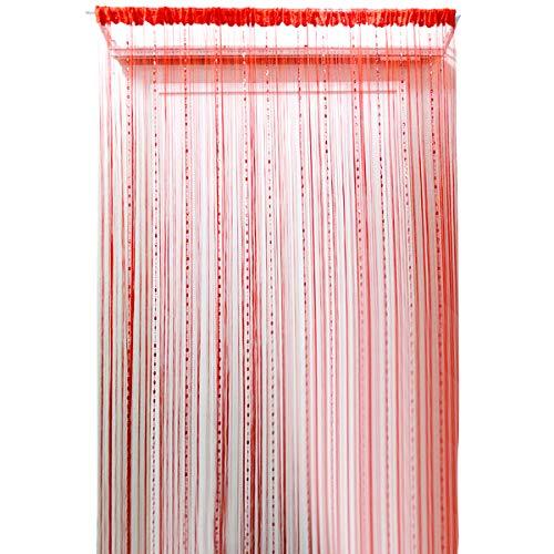 ISABELLE Rideau perlé suspendu Rideau décoratif Rideau de perles Rideau de porte Rideau de fils pour porte/fenêtre avec perles brillantes Anti-insectes
