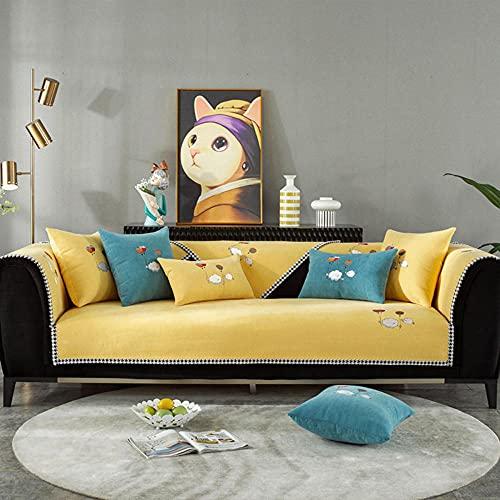 Fundas Sofa Chaise Longue Cubre Sofa Acolchado Fundas para Sofa sin Antideslizante Bordado Simple Moderno, -Funda de Almohada de 45x45cm_Amarillo-Vendido en Pedazos