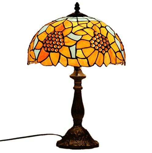 WENMW tafellamp, 12 inch in zonnebloem-stijl, glazen bloemen, tafellamp, slaapkamer, woonkamer, tafellamp, kleuropties voor lichtkleur zacht romantisch