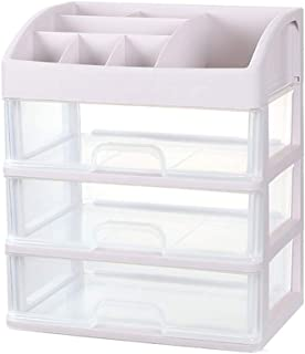 Luggage Cosmetic Cases Makeup Box Dormitory Cosmetics Storage Box Dressing Table Drawer Plastic Storage Artifact College Students Desktop Simple Rack (Color : Clear, Size : 34cm*25cm*40cm)