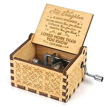 Music Box Hand Crank Engraved Musical Box-U R My Sunshine Mechanism Antique Vintage Personalizable Gift for Daughter from Mom You are Stronger Than You Seem  on Birthday Christmas