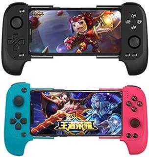 [本物の] ASDQワイヤレスBluetoothゲームパッド、IPhone/Samsung/Xiaomi/Huawei Android/IOS用ジョイスティック、ゲームコントローラ、テレスコピックジョイスティックゲームパッド (Color : Red+Blue)