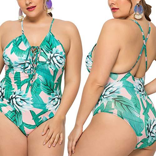 Qinlee. Maillot de Bain Grande Taille Vert Femme Backless Maillot Une pièce Plante Tropicale Elégant Maillot de Bain Taille Haute 5XL
