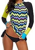 Ocean Plus Mujer Tankini de Cuello Redondo con Mangas Largas Bikini Conservador con Estampado Geométrico Traje de Baño de Dos Piezas (EU 40-42 (XL), Amarillo)