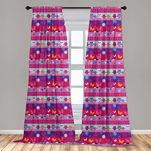 Ambesonne Owl Curtains, Striped Cartoon Style Pattern with Owls Flowers Butterflies Hearts and Snowflakes, Window Treatments 2 Panel Set for Living Room Bedroom Decor, 56