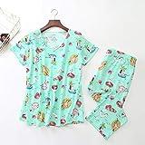 QINAG Pantalones Largos de algodón Pijamas Set Manga Corta Camisa Tamaño 2Piece / Set Sexy Verano Pijama de Big Mama casera Ropa de Dormir (Color : Long Pants Style 4, Size : XXXL)