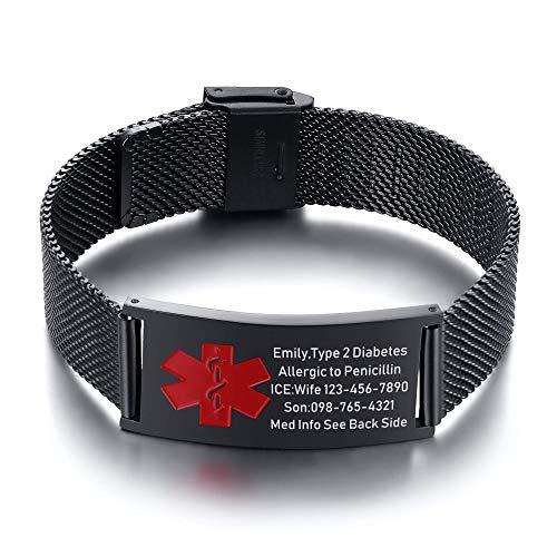 VNOX Width Medical Alert Bracelets for Men with Free Custom Engraving Adjustable Stainless Steel Mesh Emergency Medical ID Bracelets Wristband,Black