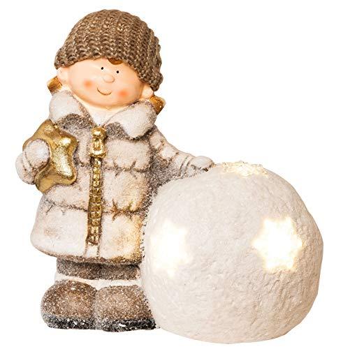 Wichtelstube-Kollektion XL 35cm Dekofigur LED Schneeball Weihnachten Deko Garten Weihnachsdeko