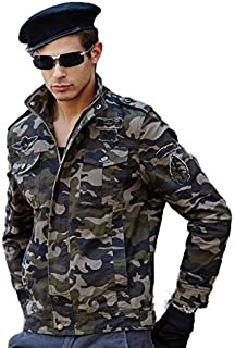 L'monte Imported Jacket for Men Winter Camouflage Military Design Army Style Cotton Casual Slim Fit Stand Collar Coat Latest Fashion (8932 Camouflage Green)