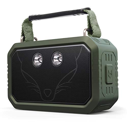 Bluetooth Speaker, DOSS Traveler Wireless Bluetooth Speakers with 20W Stereo Sound and Bold Bass, IPX6 Waterproof, Wireless Pairing, 12H Playtime, 5 Light Modes, Portable Speaker for Outdoor-Green