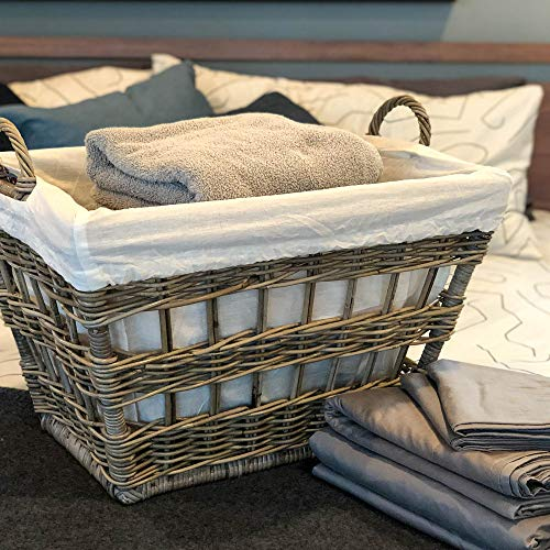 The Basket Lady Kubu Wicker French Laundry Basket, 23 in L x 18.5 in W x 18.5 in H, Serene Grey