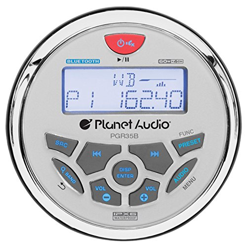 Planet Audio PGR35B Weatherproof Marine Gauge Receiver - Bluetooth, Digital Media MP3 Player, No CD...