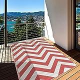 Jadorel - Alfombra exterior 152 x 213 cm, rectangular, reversible, color rojo y terraza, apta para calefacción por suelo radiante