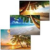 GREAT ART 3er Set XXL Poster – Urlaubsstrände – Palmen