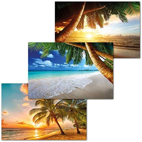 GREAT ART Set di 3 Poster XXL - Spiagge di Vacanze - Palme Alba Tramonto Caraibico Motivo Decorazione Murale Interni Manifesti Carta da Parati Immagini cadauno 140 x 100 cm