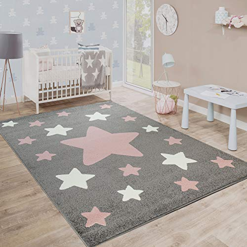 Paco Home Alfombra Habitación Infantil Estrellas Grandes Y Pequeñas En Gris Y Rosa, tamaño:120x170 cm