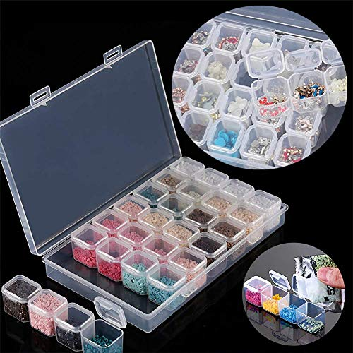 28 Grids Diamond Painting Embroidery Box Plastic Storage Containers Adjustable Bead Case 3 Pack …