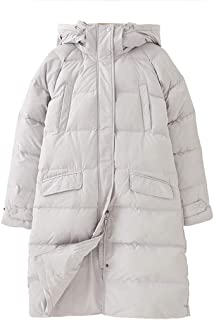 Womens Down Jacket - Fur Hoodie, Two Zipped Pockets, Waterproof Autumn Coat Ideal for Cold Weather