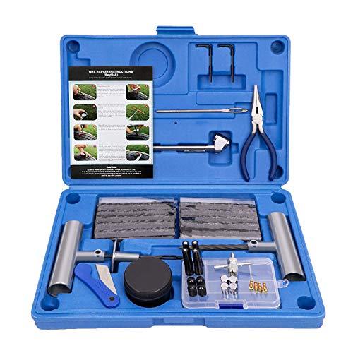 AUTOWN Autoreifen Reparaturset, Reifen Flickset, Professionelles Reifen Reparaturset für Motorrad PKW LKW, Reifenreparaturset Auto, Reifen Reparatur Set + Reifendruckprüfer (blau)