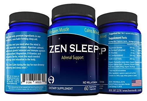 Zen Sleep Support | Natural Sleep Aid for Adults Extra Strength & Melatonin Free Adrenal Support | Insomnia Relief w/Magnesium, Organic Herbs - Chamomile, Lemon Balm, Valerian, Holy Basil 60 Pills