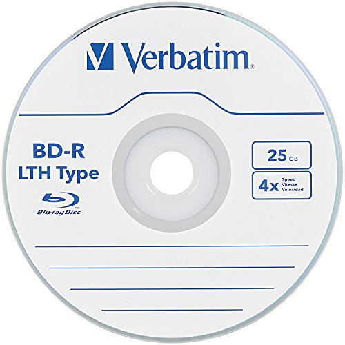 BD-R 25 GB VERBATIM LTH 4X, Logo, mit Hard Coat - Cakebox 50 Stück