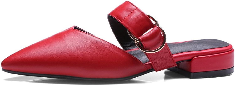 Frauen, Mode Sandalen, Neu, Baotou, Low Heels, Echtes Echtes Echtes Leder, Große Größe Frauen Sandalen  f4931c