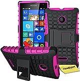 Microsoft Lumia 435 Handy Tasche, FoneExpert® Hülle Abdeckung Cover schutzhülle Tough Strong Rugged Shock Proof Heavy Duty Hülle für Microsoft Lumia 435 + Bildschirmschutzfolie (Rosa)