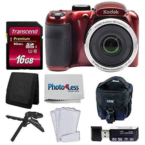 Kodak PIXPRO AZ252 Astro Zoom 16MP Digital Camera (Red) + Point & Shoot Camera Case + Transcend 16GB SDHC Class10 UHS-I Card 400X Memory Card + USB Card Reader + Table Tripod + Accessories
