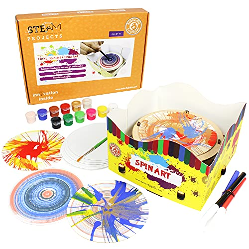 ButterflyEdufields DIY Spin Art & Paint Craft Kit , Drawing Robot STEM Construction Activity Toys for Kids 4+ Years Boys Girls , Fun Learning Educational Best Birthday Gift