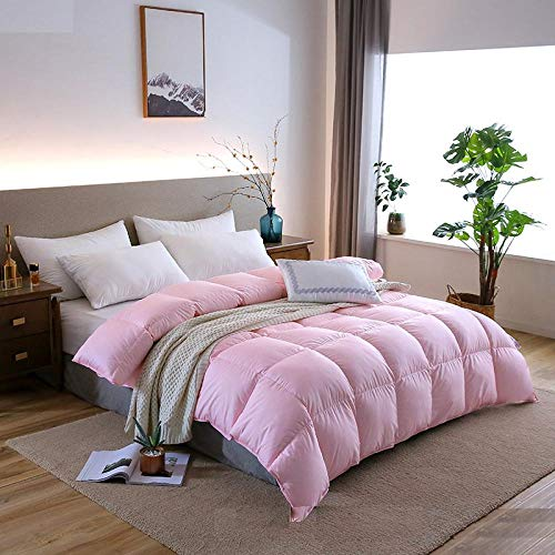 Hahaemall King Size Duvets 7.5 Tog All Seasons Duvet Insert Classic Quilt Hypoallergenic 100% Cotton Shell Down Proof- Classic -Anti-allergy-Duvet Quilt-pink_200x230cm-3500g