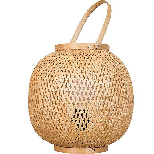 Lámpara de mesa de bambú tejida a mano,lámpara de noche para dormitorio de hotel,lámpara de escritorio de decoración,luz de mesa de linterna de estilo retro,fuente de luz de luz cálida de 20 W