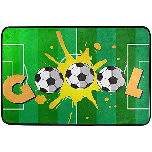 Bolsas de Gimnasia Bolsas de Cuerdas, Goal Soccer Sport Doormat Indoor Outdoor Entrance Floor Mat Bathroom 24 x 16 Inch Fashion
