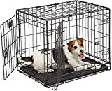 Mount Pet | Folding Metal Dog Crate: Double Door Dog Crates - Pet Cage for Large, Medium, Small Dogs with Divider, Handle, and Leak-Proof Plastic Tray (24-inch)