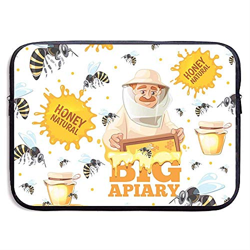 Apiary Patroon Honing Bijen en imkers in Mask 15 Inch Laptop Sleeve Bag Draagbare Rits Laptop Bag Tablet Bag