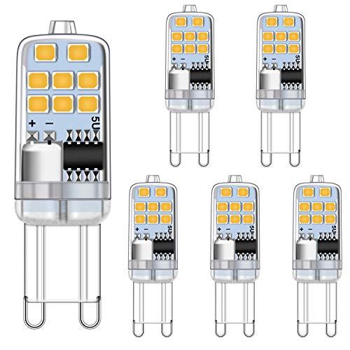 Bombilla LED G9 2W Blanco cálido 3000K Equivalente a bombillas halógenas de 15W 20W, sin parpadeo Bombillas G9, no regulables Zócalo G9 El ahorro de energía Lámpara, 200LM, CA 220-240V, paquete de 5