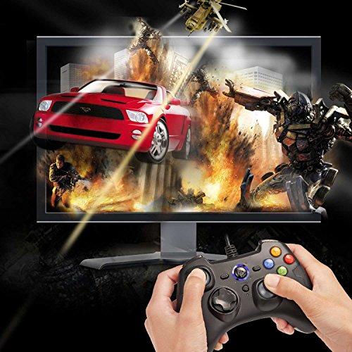 【ゲームコントローラー】EasySMX有線PS3コントローラー連射・振動機能搭載USBゲームパッドWindows/Android/PS3/TVBoxに対応可能(ブラック+グレー)