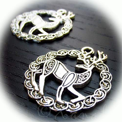 Celtic Stag Charms 31mm Antiqued Silver Plated Pendants 2PCs Vintage Crafting Pendant Jewelry Making Supplies - DIY for Necklace Bracelet Accessories by CharmingSS