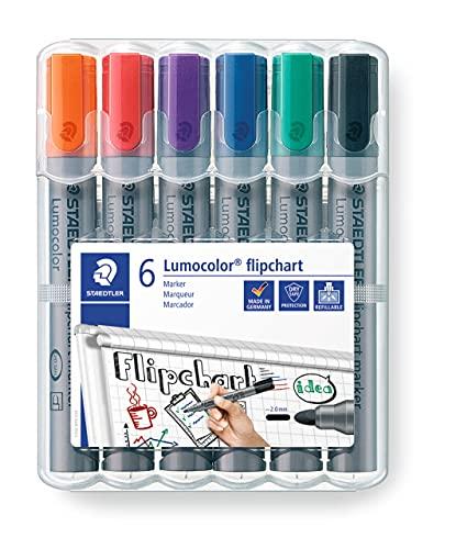 STAEDTLER Lumocolor 356 WP6 - Rotuladores de Colores para Flipchart, Estuche con 6 Marcadores, Multicolor