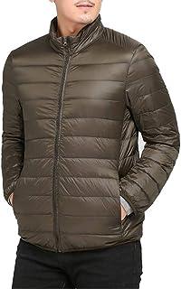 Azooken ダウンジャケット メンズ ライト コート フード付き 超軽量 アウトドア 通勤 カジュアル 保温 登山 防風 防寒 収納袋付き 無地 秋 冬 黒 大きいサイズ 全10色