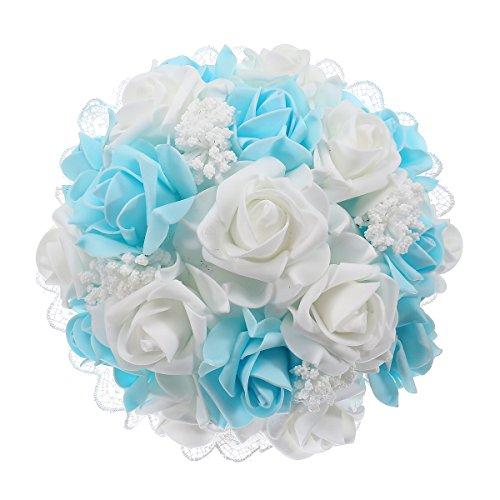 bouquets de mariage décoratifs artificielle en mousse Rose Fleur pour mariage bleu