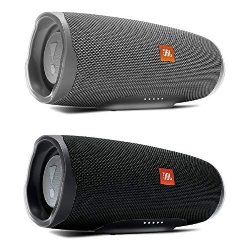 JBL Charge 4 Waterproof Portable Wireless Bluetooth Speaker Bundle - Pair (Black/Gray)