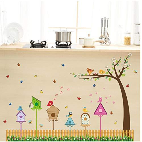 Annqing Erba-plint, muurstickers voor tuin en tuin, van karton, animato, vogel, vogelhuisje, boom, vlinder, stickers voor kinderkamer, decoratie, keuken, 60 x 90 cm
