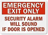 安全標識-非常口のみ-ドアが開いているとセキュリティアラームが鳴ります。 金属スズサインUV保護および耐候性、通知警告サイン