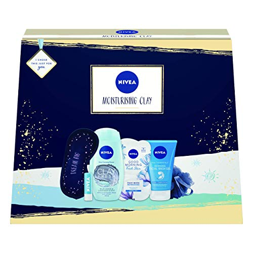 Nivea Moisturising Clay Gift Set, Hydrating Set of Gifts for Her Includes Clay Shower Gel, Moisturising Face Mask, Cleansing Face Wash + Hydro Lip Balm, Gifts for Women