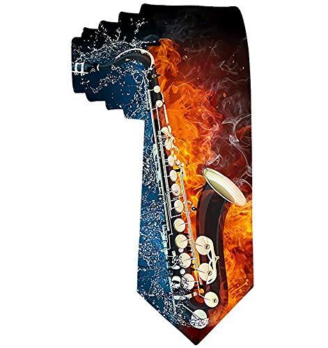 Water en vuur saxofoon mannen gedrukt bloemen etiquette Gentleman nekband