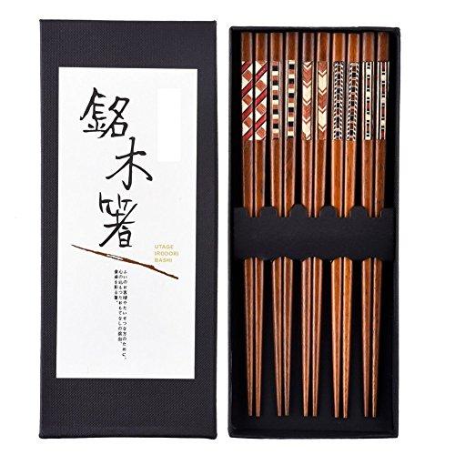 5 paires de Baguettes japonaises de 23 cm en bois naturel Ré