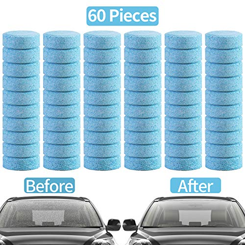 Frylr 60 Pieces Car Effervescent Washer Car Windshield Glass Concentrated Washer Tablets Cleaning Tablets Solid Wiper
