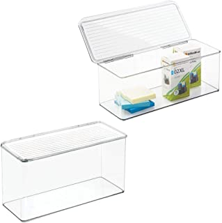 mDesign Long Plastic Stackable Home, Office Supplies Storage Organizer Box with Attached Hinged Lid - Holder Bin for Note Pads, Gel Pens, Staples, Dry Erase Markers, Tape - 5