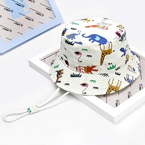 Sombrero para el Sol para bebé Sombreros para bebé de Verano para niños Protección Solar Sombrero para niños pequeños Cubo para niña Gorra Sombrero de protección UV,Blanco,48cm (1_2 Years Old)