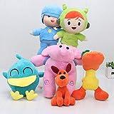 Romantic-Z Anime Pocoyo muñeca de Dibujos Animados Pocoyo Elly & Pato & Pocoyo & Loula Stuffed Plush Toys Regalo de niños para niños, 6 Piezas